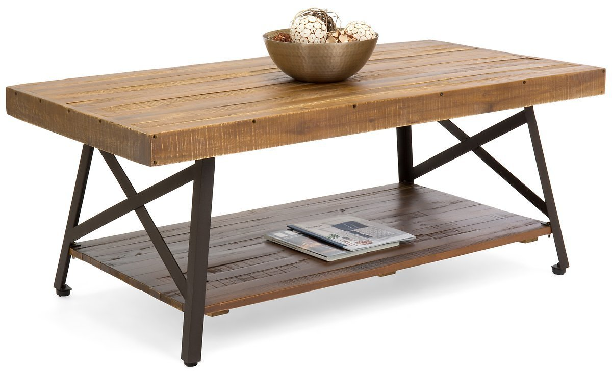 Wooden Coffee Accent Table w/ Metal Legs, Bottom Shelf - Brown