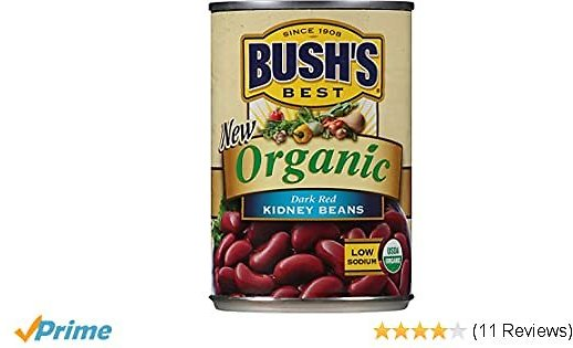 BUSH'S BEST Organic Dark Red Kidney Beans, 15 Ounce Can (Pack of 12), Canned Beans, Kidney Beans Canned, Source of Plant Based Protein and Fiber, Low Fat, Gluten Free, Great Chili Beans