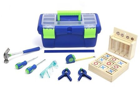Create & Learn Children's Tool Set with Box, Coin Bank, and Tic-Tac-Toe