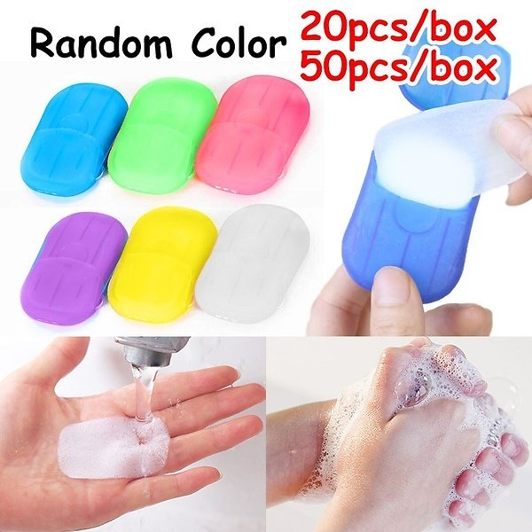 Soap Paper Washing Hand Bath Clean Disposable Boxe Soap Portable Mini Paper Soap Random Color