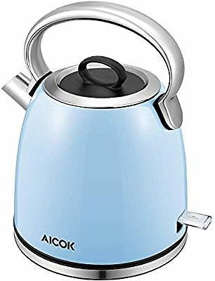 Save 60% | Retro Electric Kettle (BPA Free), 1500W Rapid Water Boiler, Cordless Dome Kettle with Detachable Mesh Filter