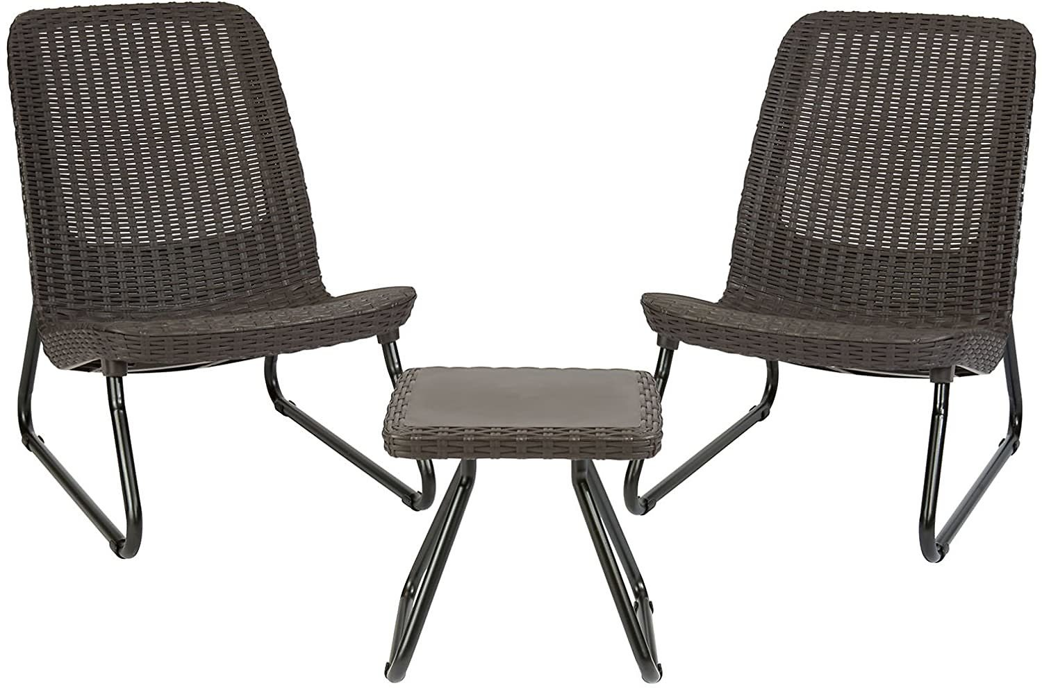 Save 8% | Keter Rio 3 Pcs All Weather Outdoor Patio Garden Conversation Chair & Table Set Furniture, Brown