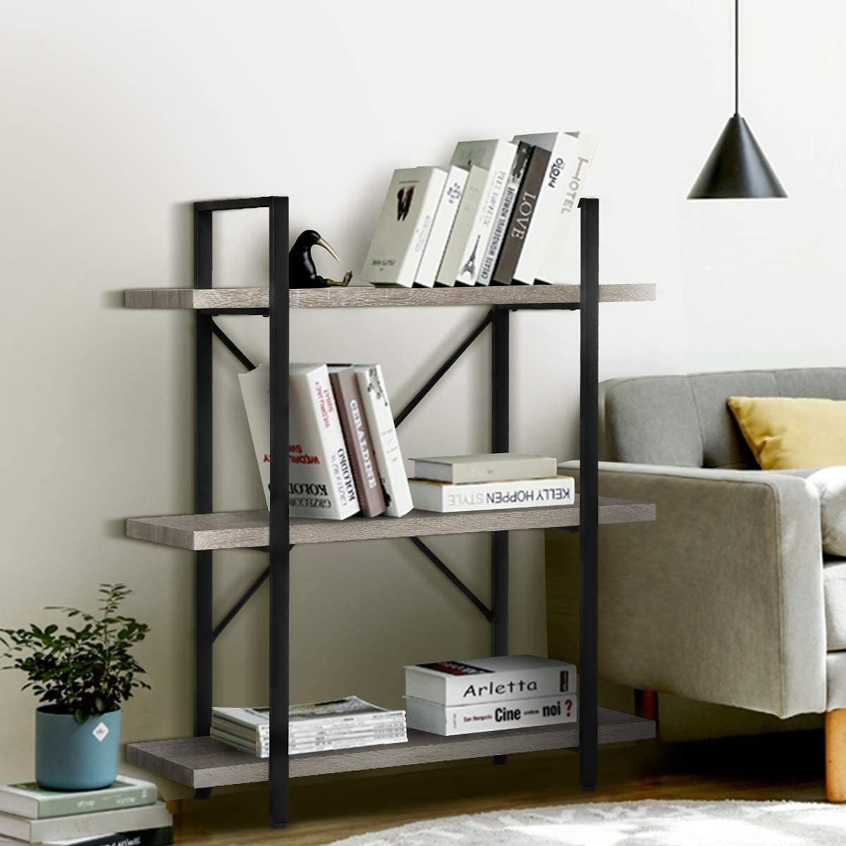 Save 17% | 3-Tier Industrial Bookshelf, Rustic Wood Etagere Book Shelves with Metal Frame