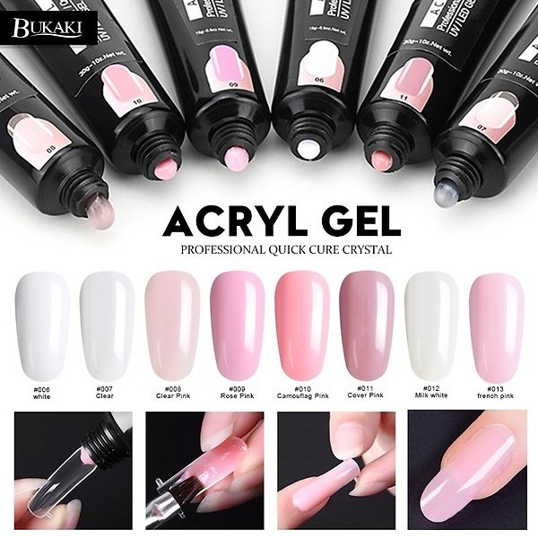 BUKAKI 8 Colors French Nail Art Tips Long-lasting Nail Extending Gel Lacquer Crystal Jelly UV Builder Gel for Nail Extension
