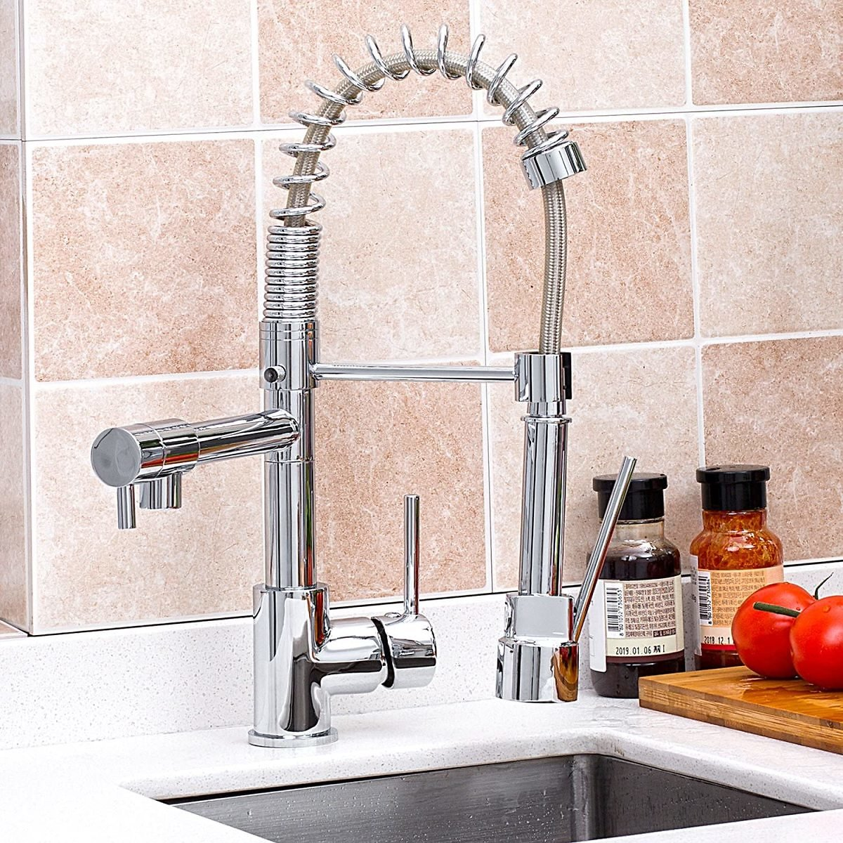 KAIMA Pull Down Swivel Spraye and Spout Kitchen Faucet Hight Arc Spring Kitchen Faucet Brass Chrome Finished