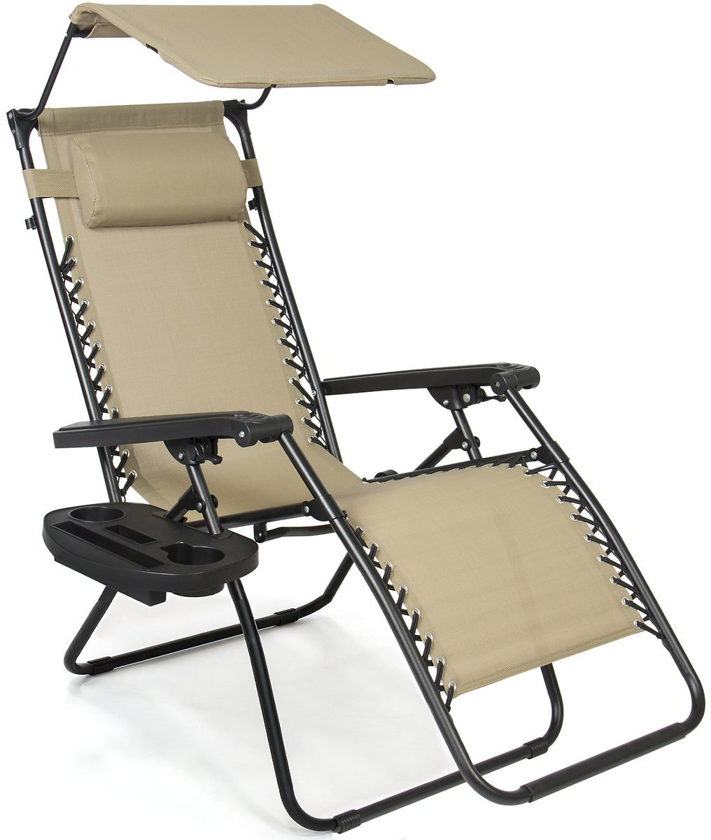 Folding Zero Gravity Recliner Lounge Chair w/Canopy