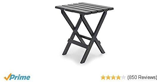 Camco Charcoal Large Adirondack Portable Outdoor Folding Side Table-Perfect for The Beach, Camping, Picnics, Cookouts and More-Weatherproof and Rust Resistant (21047)