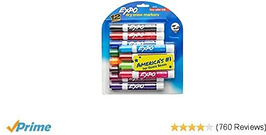 24 COUNT- EXPO Low Odor Dry Erase Markers, Chisel Tip, Assorted Colors