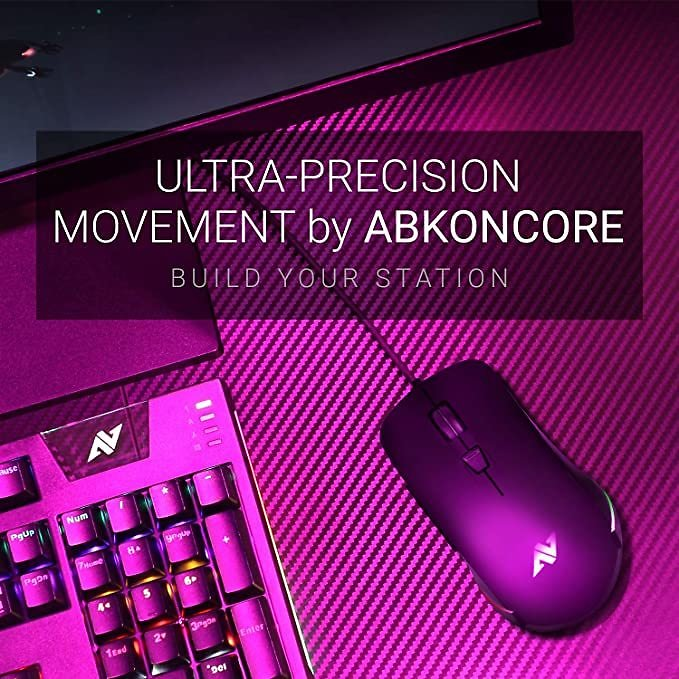 ABKONCORE AM8 RGB Gaming Mouse Ergonomic Wired USB, 4 Flash Modes, Adjustable Dpi Levels, Programmable Buttons