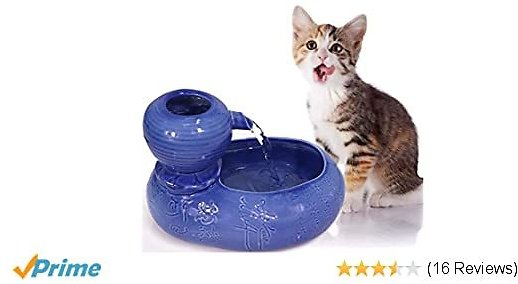 Wistwoxxon Ceramic Cat Drinking Water Fountain, 1.0 Liters /33OZ Pet Water Fountains for Cats and Dogs, Electric Pet Water Dispenser with Quiet Pump (Blue)