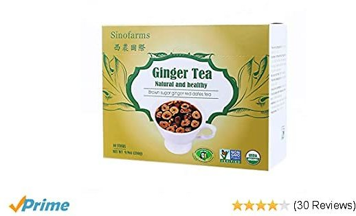Sinofarms Ginger Tea, Organic Brown Sugar Herbal Tea, Nature Ginger Root And Jujube Flakes, Eases Stomach Discomfort, Support Healthy Cycle Menstrual, 10 Sachet 10 Oz