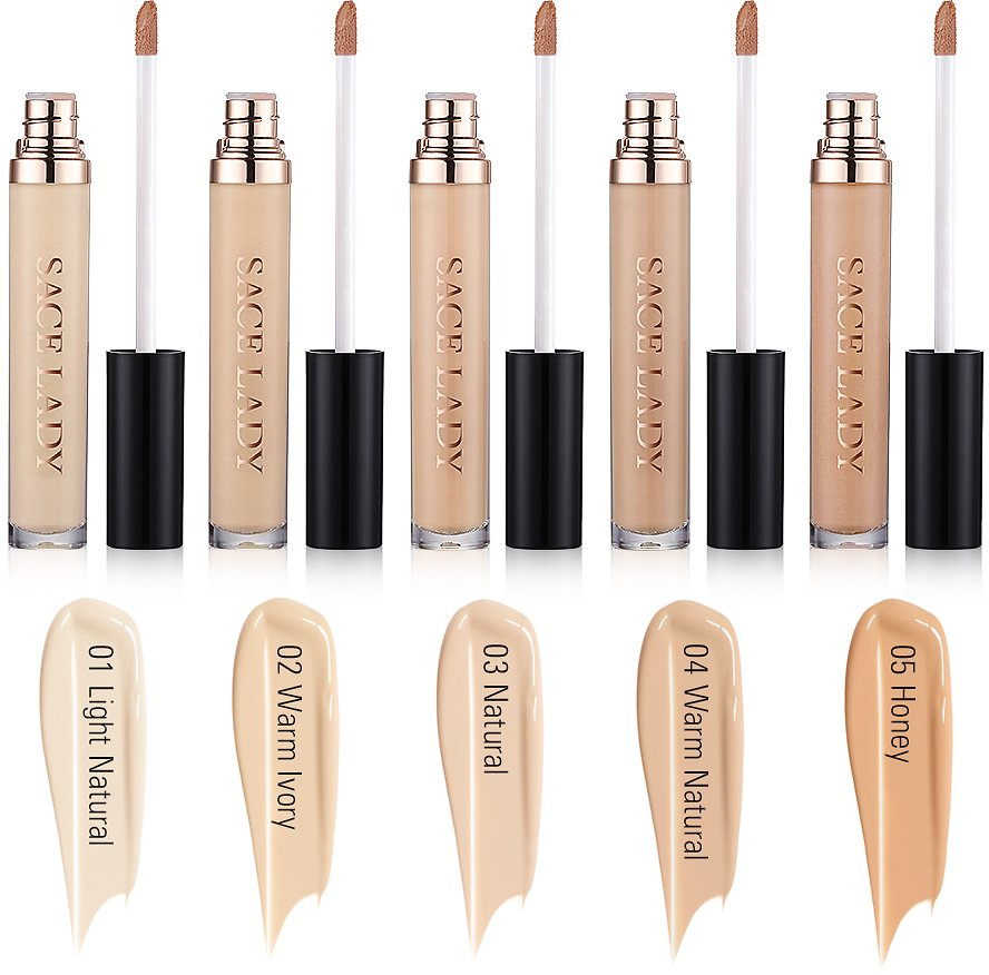 SACE LADY 3 Pack Liquid Concealer Wand Stick, Natural Coverage, Multi-Use Mineral Smooth Concealer Makeup for Eye Dark Circles (01.Light Natural)