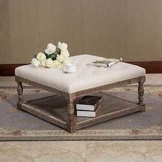 Cairona Tufted Textile 34-inch Shelved Ottoman Table (More Colors) | Overstock.com Shopping - The Best Deals On Ottomans