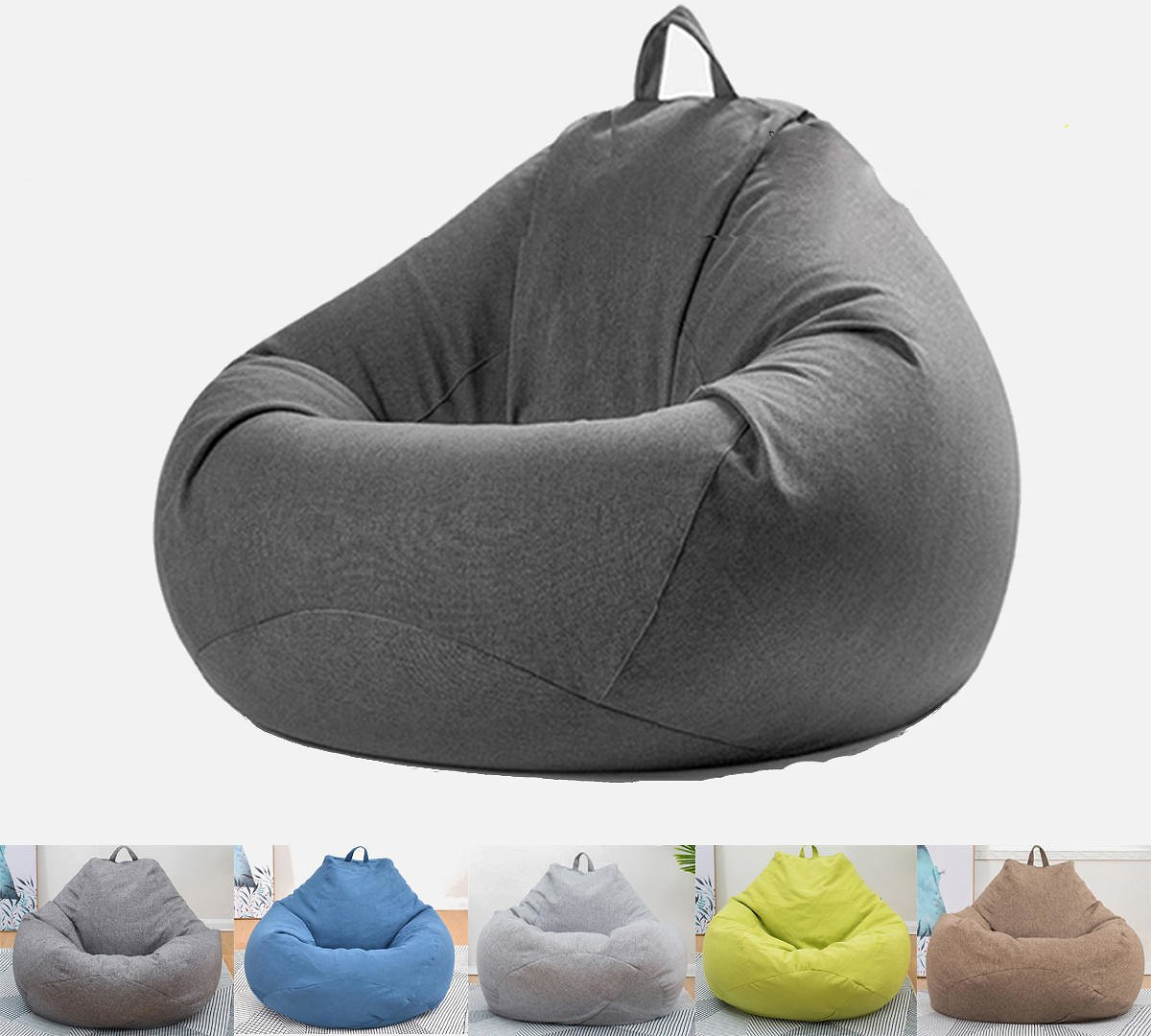Extra Large Bean Bag Chair Lazy Sofa Cover Indoor Outdoor Game Seat BeanBag - Dark Grey