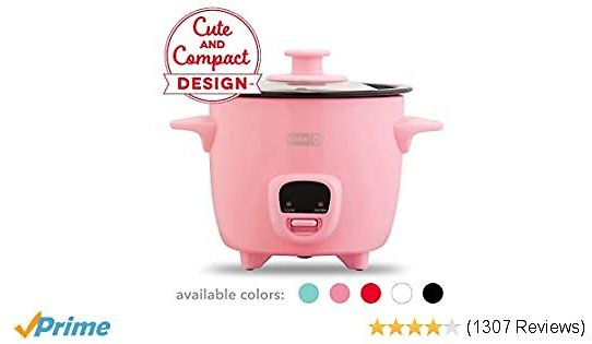 Dash DRCM200GBPK04 Mini Rice Cooker Steamer with with Removable Nonstick Pot, Keep Warm Function & Recipe Guide, 2 Cups, for Soups, Stews, Grains & Oatmeal, Pink