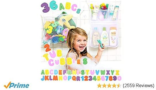 Tub Cubby Bath Toy Organizer Double Twin - 2 Bins +36 ABC 123 Soft Foam Bathtub Letters & Numbers + Quick Dry Storage Net + Lock Tight Suction Cups & Stickers Hooks