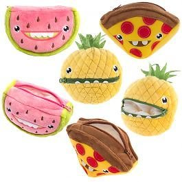 """2pk Hallmark 7"""" Plush Zip Carrying Cases – Play With Your Food"""
