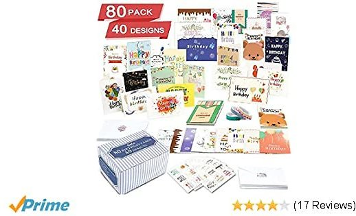 80-Pack 40 Designs Happy Birthday Card Assorted Bulk