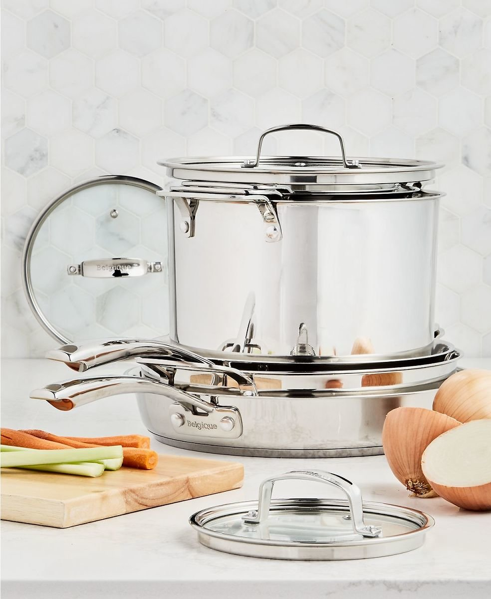 Belgique Stackable 10-Pc. Stainless Steel Cookware Set