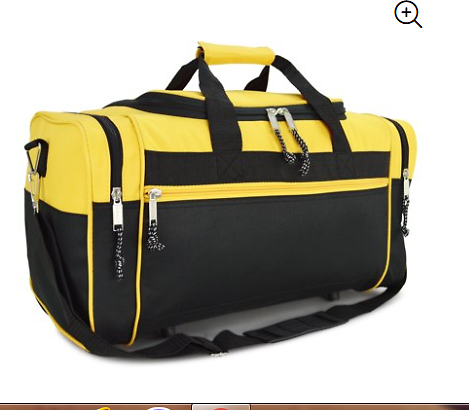 21 Blank Sports Duffle Bag Gym Bag Travel Duffel with Adjustable Strap in Gold