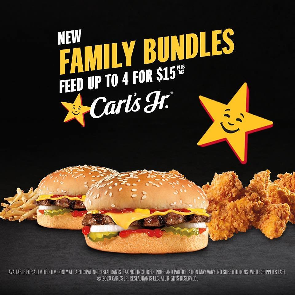 New Family Bundles At The Drive-Thru - $15 At Carl's Jr.
