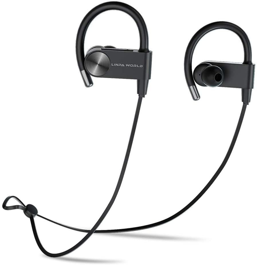 Bluetooth Headphones L LINPA WORLD LEB56 Wireless Sports, Earbuds Fast Fuel Waterproof Bluetooth 5.0 HiFi Bass Stereo Earphones with Microphone 12 Hours Playtime for Workout Running Headset-Black: Home Audio & Theater