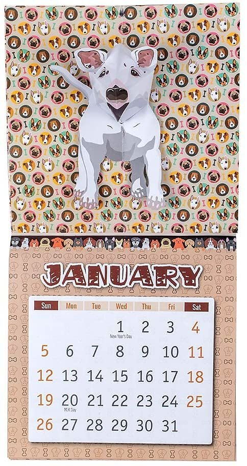 3D Pop Up Cards Dog Hanging Wall Calendar 2020 10x20inches Thanksgiving Gift