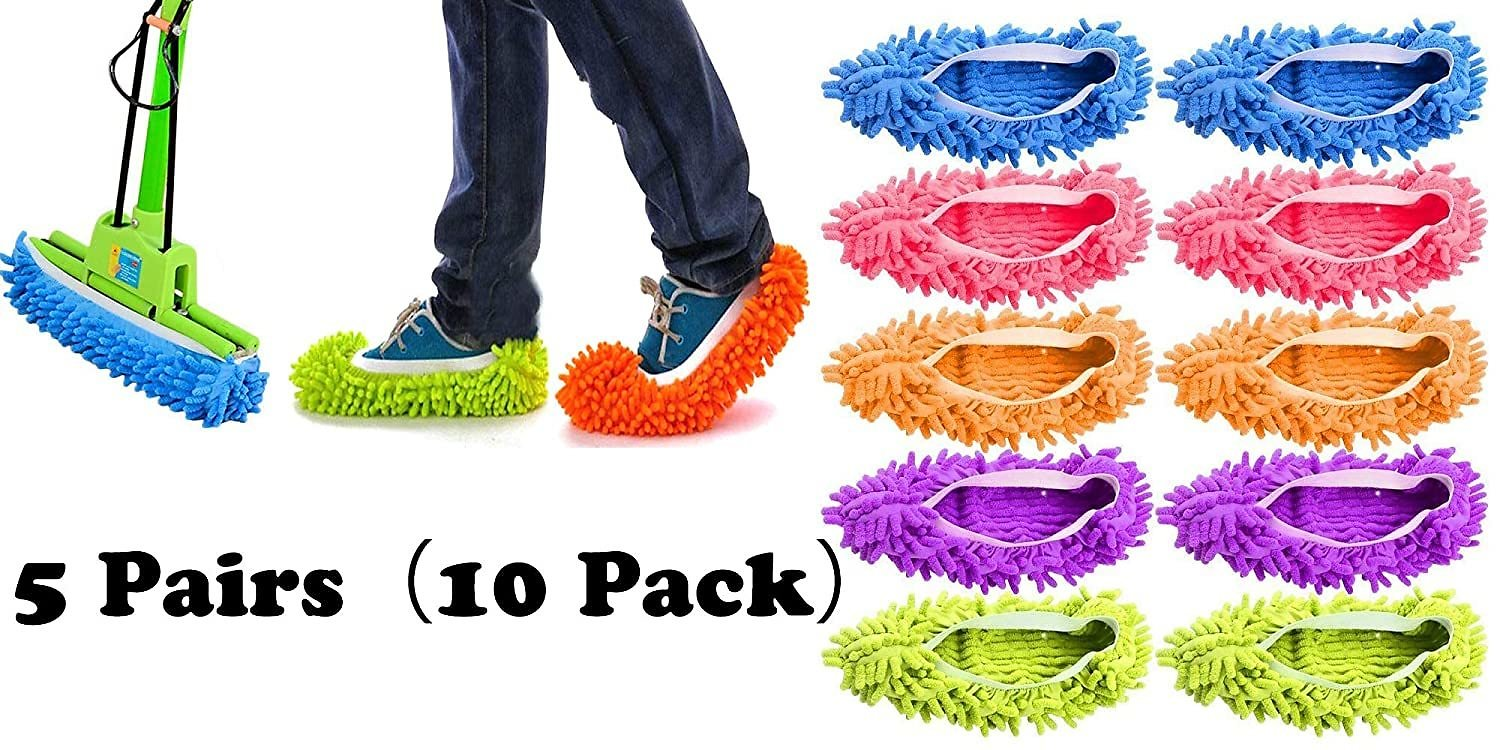 Tamicy Mop Slippers Shoes 5 Pairs (10 Pieces) - Microfiber Cleaning House Mop Slippers Floor Cleaning Tools Shoe