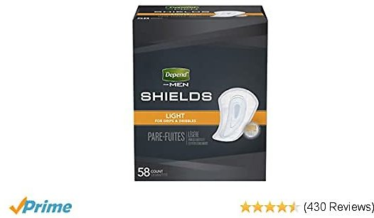 Depend Incontinence Shields for Men, Light Absorbency, Packaging May Vary (pack of 3)