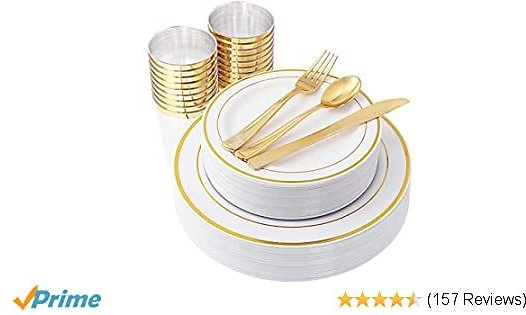 Gold Plastic Plates & Plastic Silverware & Gold Cups 150 Piece, Premium Disposable Dinnerware Set Includes: 25 Dinner Plates, 25 Dessert Plates, 25 Tumblers , 25 Forks, 25 Knives, 25 Spoons