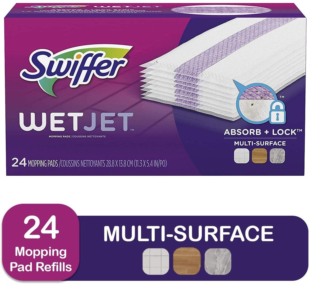 Swiffer Wetjet Hardwood Mop Pad Refills for Floor Mopping and Cleaning, 24 Ct.