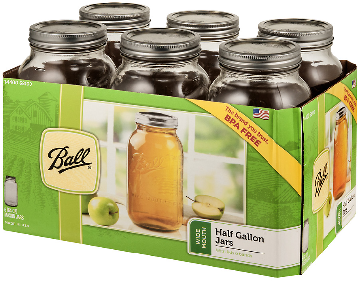 Ball Glass Mason Jar With Lid & Band, Wide Mouth, 64 Ounces, 6 Count