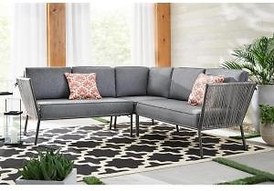 Tolston 3-Piece Wicker Outdoor Patio Sectional Set W/Cushions