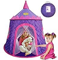 WooHoo Toys Gorgeous Princess Castle Play Tent for Girls - Great Children Playhouse for Indoor & Outdoor with Elegant Motif On Thick Durable Fabric for Kids to Enjoy Hours of Pretend Playing