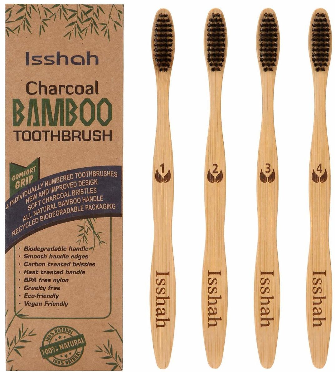 Pack of 4 - Biodegradable Eco-Friendly Natural Bamboo Charcoal Toothbrushes