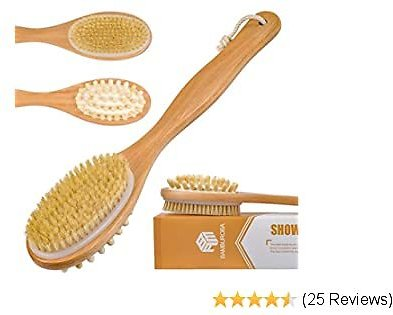 Bath Body Brush Dry Skin Brushing with Long Handle Massage for Back Scrubber - Shower Brushes & 100% Natural Boar Bristles for Exfoliating and Cellulite - Suitable for MenWomen