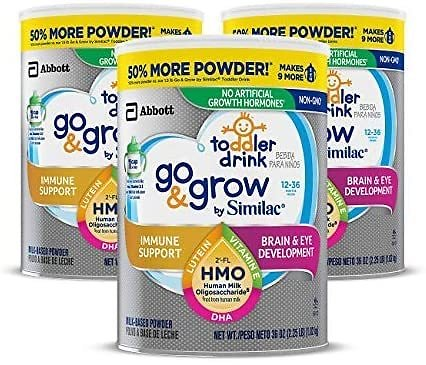 Pack of 3 – Similac Go & Grow Toddler Drink for Immune Support, with 25 Key Nutrients, Non-GMO Milk-Based Powder