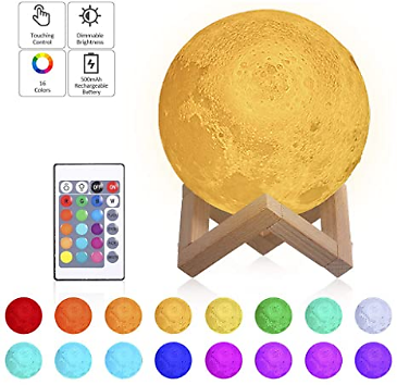 Tomshine Moon Lamp with Stand 16 Colors Moon Light LED 3D Print Nursery Lamp USB Charging Touch Remote Control 15cm 5.9 Inches Dimmable Night Lights Kids Christmas Gift