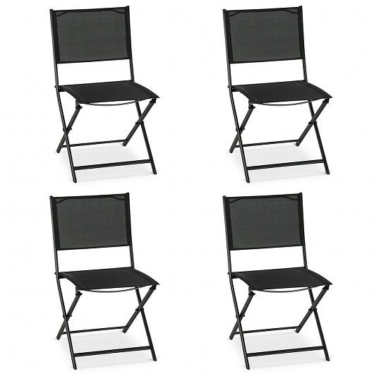 Set of 4 Outdoor Patio Folding Sling Chairs