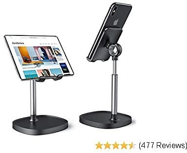 Cell Phone Stand,Angle Height Adjustable Stable LISEN Cell Phone Stand For Desk,Sturdy Aluminum Metal Phone Holder,Compatible with Mobile Phone/iPad/Kindle/Tablet,4-12inch