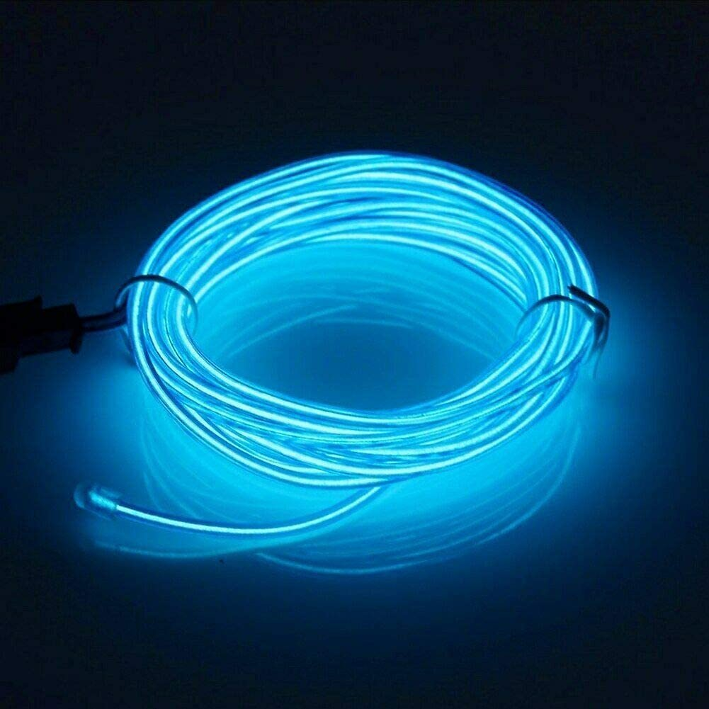 EL Wire Neon Glowing Light 16 Feet for Christmas Party Decoration with Battery Pack