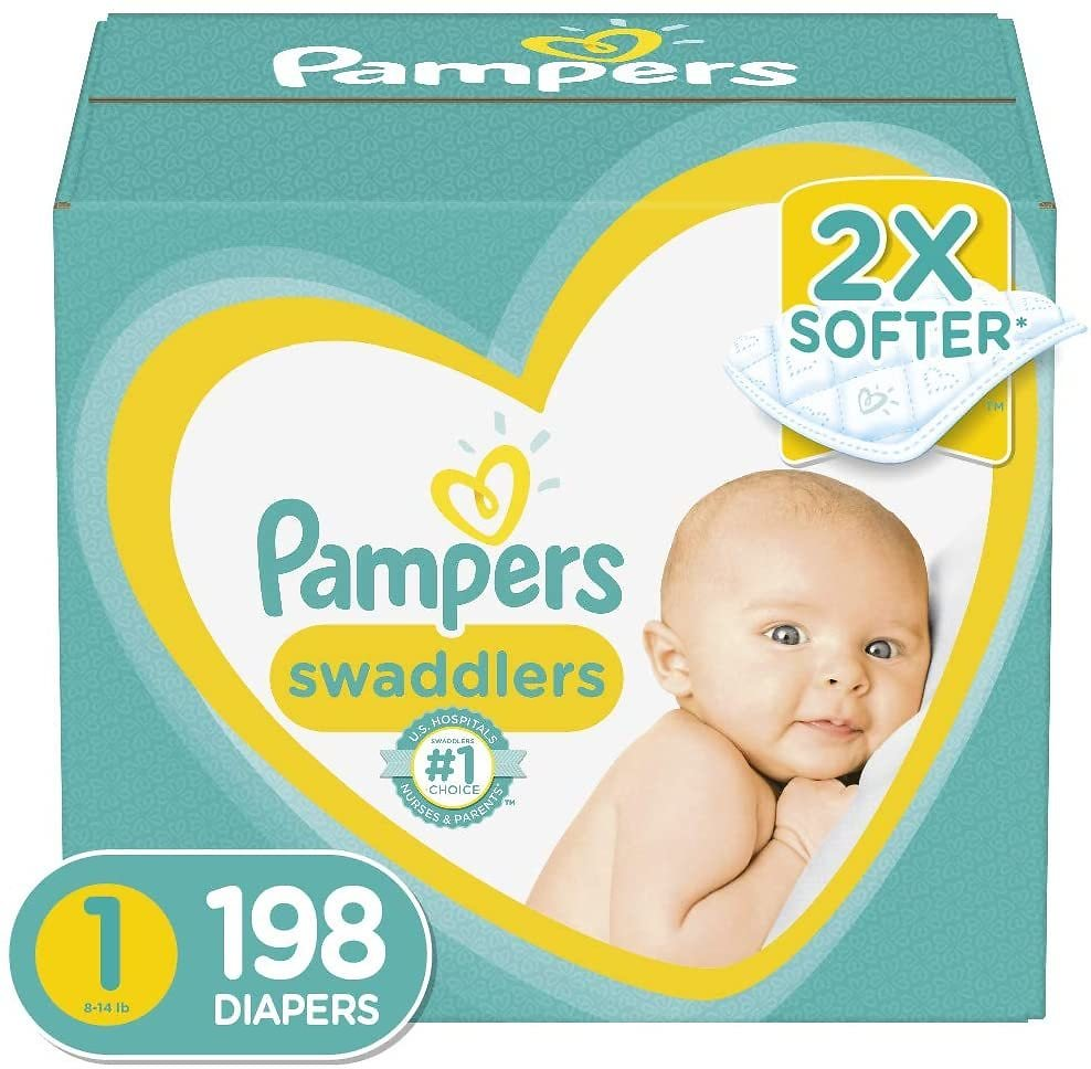 Diapers Newborn / Size 1 (8-14 Lb), 198 Count - Pampers Swaddlers Disposable Baby Diapers