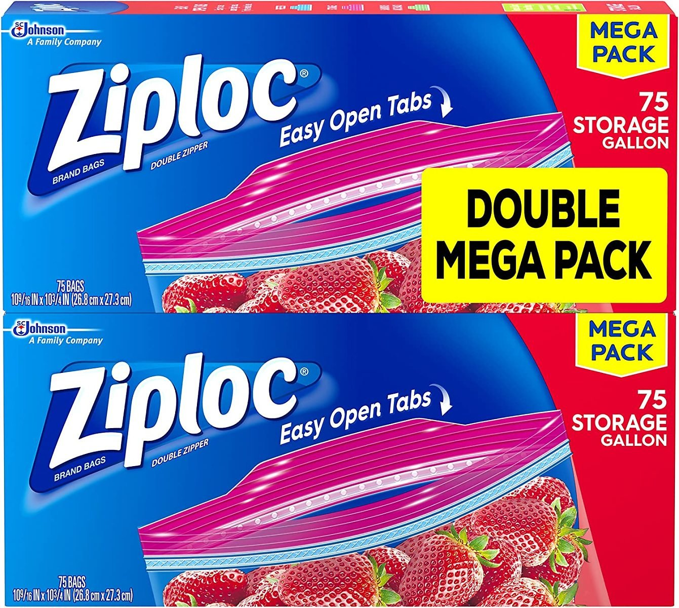 Ziploc Storage Bags, For Food, Sandwich, Organization and More, Smart Zipper Plus Seal, Gallon, 75 Count, Pack of 2, (150 Total