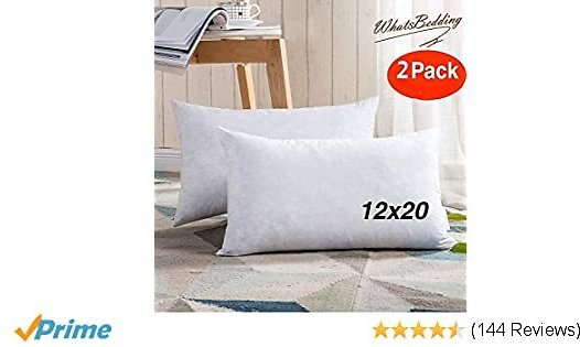 2PC Throw Pillow Inserts - Sham Stuffer Down and Feather Filling for Firm Rectangle Throw Pillow Decorative Couch Pillows Sofa Pillows Bed, Pure White,12x20 Throw Pillows 100% Cotton Pillow Insert: Home & Kitchen