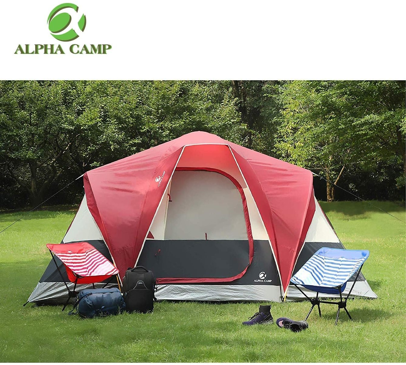 ALPHA CAMP 6 Person Tent Extended Dome Tent for Camping Waterproof with Rainfly and Carry Bag - 12' X 10' : Sports & Outdoors
