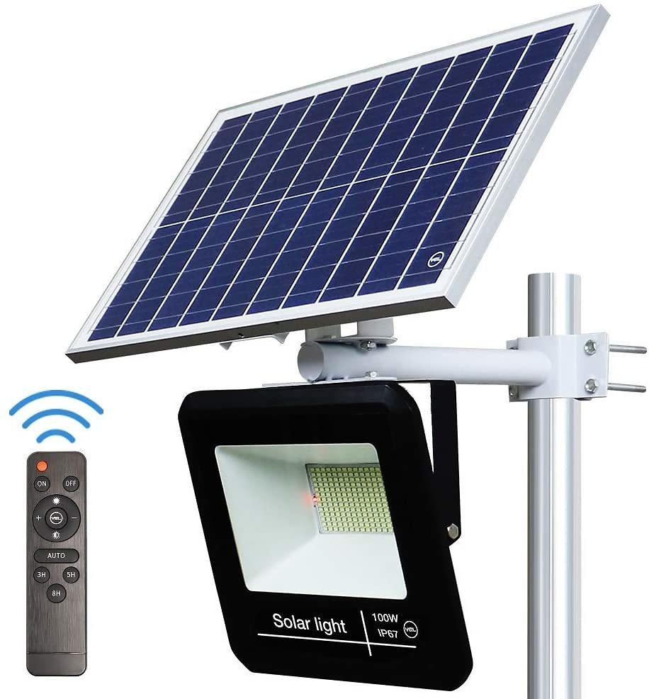 YQL 100W Outdoor LED Solar Street Security Flood Light IP67 Waterproof White 6500K 208 LEDs Auto On/Off Dusk to Dawn Timer with