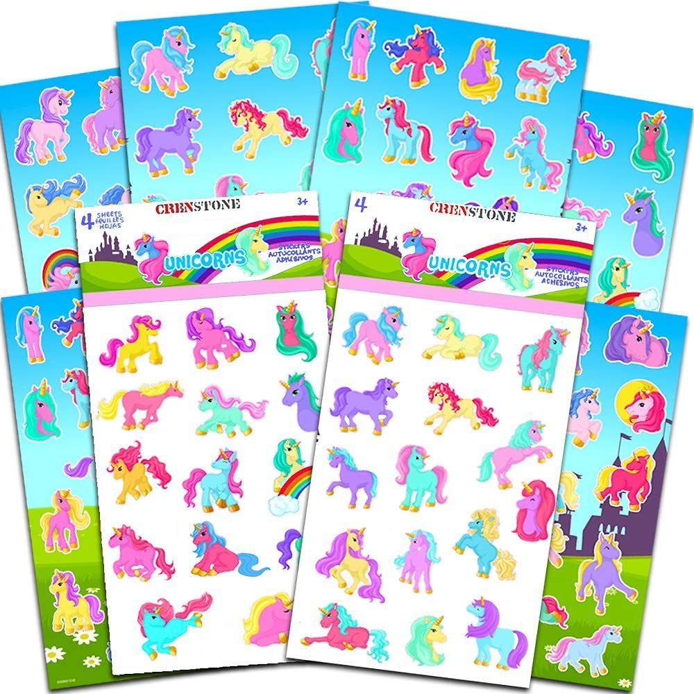 Crenstone Unicorn Stickers Party Supplies Pack - Over 120 Unicorns Stickers and Licensed Stickers (8 Party Favors Sheets)
