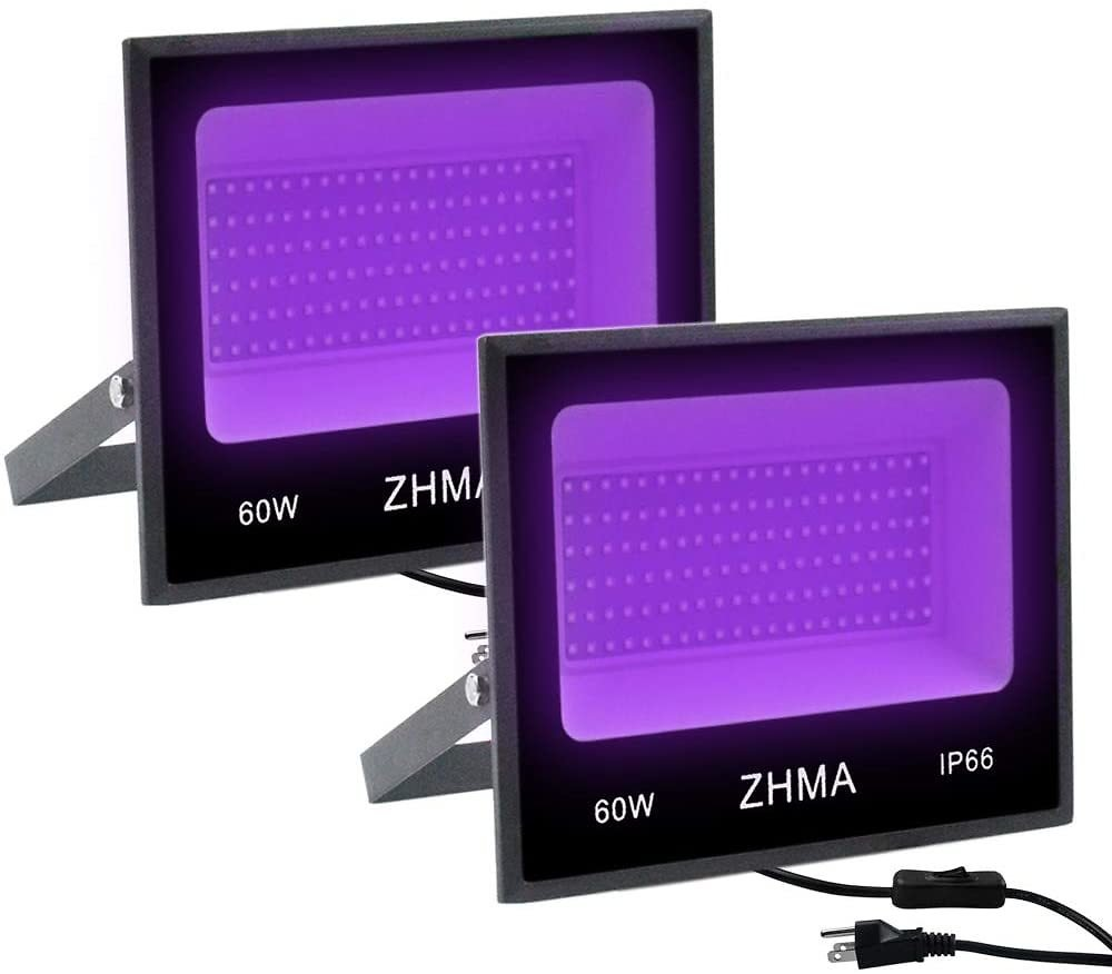 ZHMA 60W UV LED Black Light,Party Lights,UV Lamp with Plug,for Blacklight Party,Fluorescent Party,Black Light Posters for Room,B
