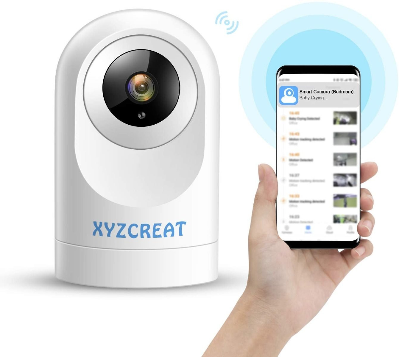 XYZCREAT 1080p Home Security Camera Wireless Cameras Work with Alexa Smart Home Camera with Motion Detection/Night Vision/2-Way