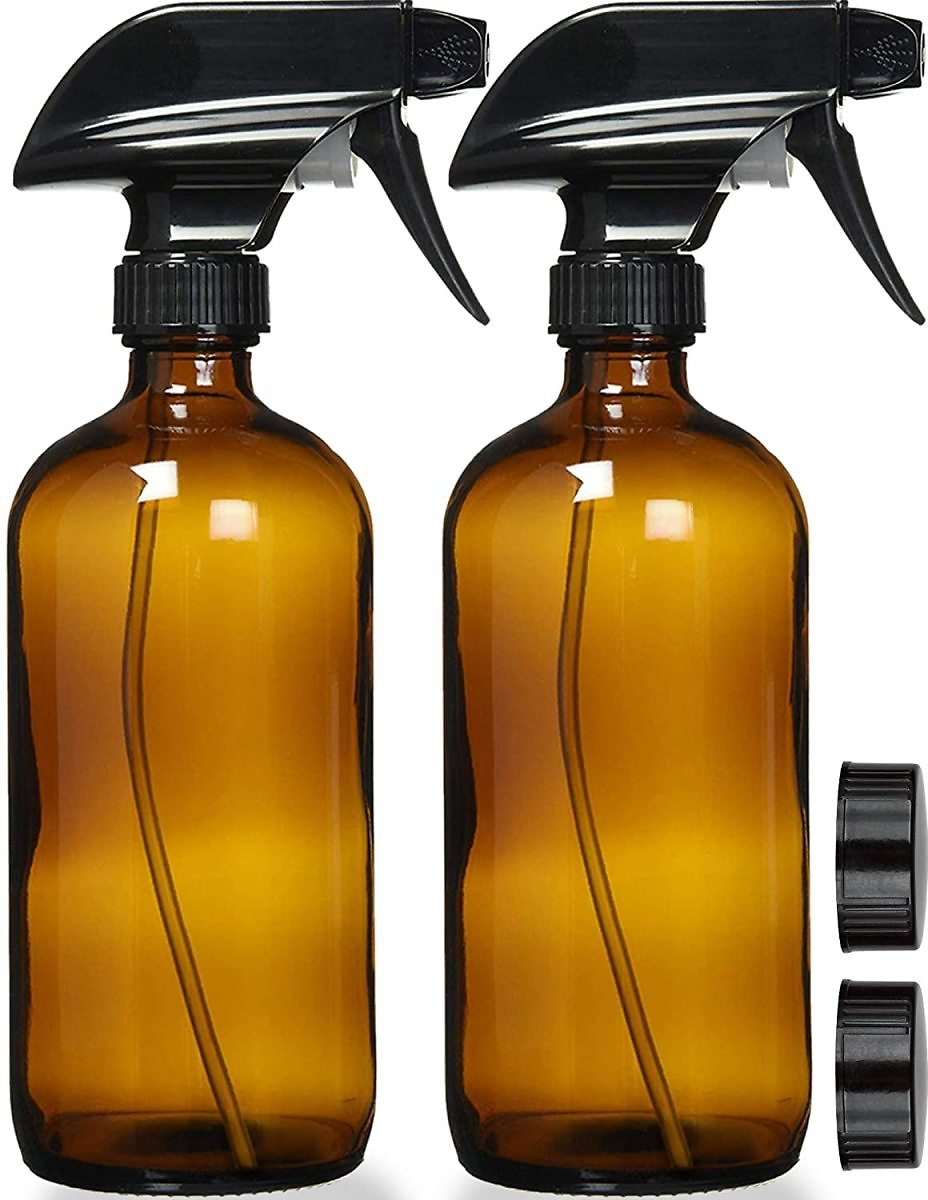 Pack of 2 - Empty Amber Glass Spray Bottles with Labels - 16oz Refillable Container, Durable Black Trigger Sprayer